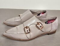 Ted Baker London 'Naoi' Double Monk Strap Shoe Taupe Leather Womens Size 8/38.5