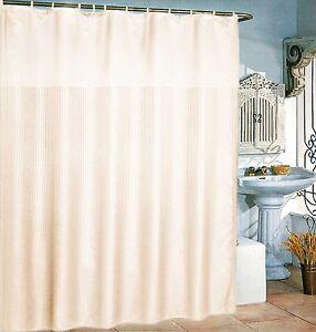"""72"""" x 72"""" Waterproof Silk~y Fabric Shower Curtain Stripe Solid Grommet 12 Rings"""