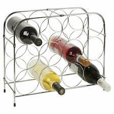 Free Standing Metal Wine Rack Storage Holder 12 Bottle Capacity (41 x 17 x 34cm)