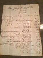 1880's 'Handwritten Account Ledger Statement West Jersey Railroad Camden NJ