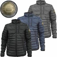 Mens Thick Padded Jacket Quilted Warm Lined Puffer Bubble Coat Fleece Neck Zip