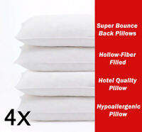 FOUR PACK DELUXE SUPER RE BOUNCE BACK PILLOWS - 2 BEDDING SET - 2 PAIRS
