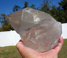 BIG Shiny Smoky Quartz Crystal Natural Point with Recordkeepers Self Standing