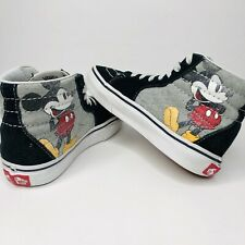 RARE Discontinued Vans X Disney KIDS Mickey Mouse High Top Skater Shoe Size US 1