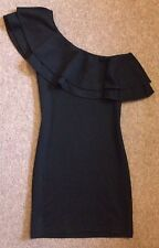 Black Mini Evening Dress Asymmetric One Shoulder Size 8 Christmas Party Fitted