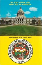 St Paul Minnesota~State Capitol~Great Seal~1950s Postcard
