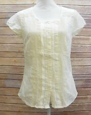 Eddie Bauer Womens Scoop Neck Cap Sleeve Lace Shirt Blouse Top Ivory XS JQ1415