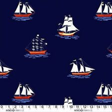Fat Quarter Out to Sea Ships on Navy Blue Cotton Quilting Fabric  50 x55 cm