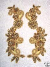 GOLD FLORAL MIRROR PAIR SET SEQUIN BEADED COSTUME DANCE APPLIQUES (0183)