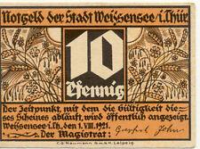BILLET BANQUE ALLEMAGNE NOTGELD 10 PF WEISSENSEE 1921