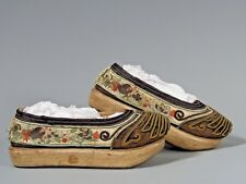 Pair China Chinese Silk Embroidery Gold & Multicolor Threads Shoes Early 20th C.