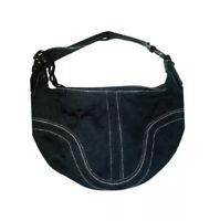 Authentic Coach Black Cloth Signature Shoulder Bag Braided Leather Strap