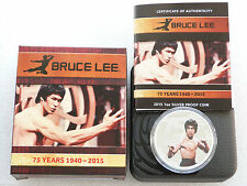 2015 Tuvalu Bruce Lee 75th Anniversary $1 One Dollar Silver Proof Coin Box Coa