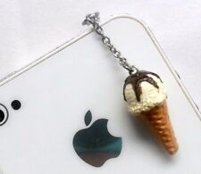 Vanilla With Chocolate Syrup Topping Ice Cream Waffle Cone Phone Charm, Cute! :)