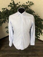 BARBA Napoli Shirt Culto White Blue Check Luxury  40 (15 3/4) Made In Italy