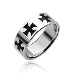 Stainless Steel Maltese Iron Cross Ring Size 9,10,11,12,13,14,15 (FL2)