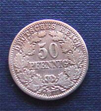 KAISERREICH: 1877  50  Pfennig  Mz. E  schön/Sehr schön kleiner Adler  Silber