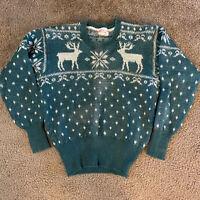 Vintage 1930s 1940s 50s Jantzen Wool Knit Sweater Mens 42 Green Deer Snowflakes