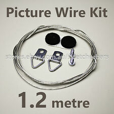 Picture Hanging Wire Kit(1.2m) incl coated wire, D-rings, screws, felt bumps