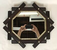 Antique Late 19th C Adirondack Folk Art Black Forest Octagon Frame Mirror