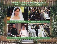 Chad 2018 CTO Prince Harry & Meghan Royal Wedding 4v M/S IV Royalty Stamps