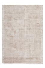 Handgefertigter Flachflor Teppich Flor Aus Viskose Uni Teppich Baumwolle Beige
