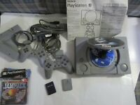 Sony Playstation (original 1996 SCPH-1001) controllers-games-cards; Needs repair