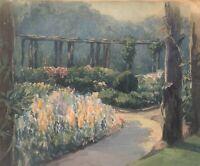 1919 Impressionist Portland Maine Garden Landscape By Charles B Cook