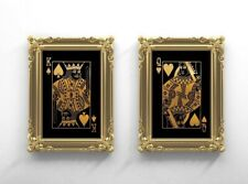 Pair of King & Queen Gold Effect playing card Art Prints, Playing card Art