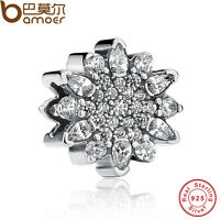 Bamoer Solid S925 Sterling Silver Charm Ice Crystal, Clear CZ European Bracelet