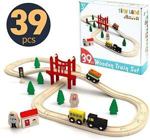 39Pcs Wooden Train Set-Wooden Track & Train Pack Fits Thomas Brio Tiny Land