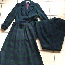 Pendleton Tartan Green Plaid Wool 3 Piece Suit Skirt Pants Jacket Vintage