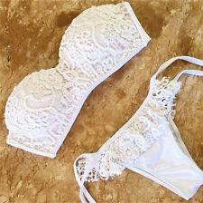 Bandeau Lace Flower Brazilian Womens 2016 Bikini Top+ Bottom Holiday Swimwear