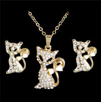 18K Gold Plated Austrian Crystal Cat Necklace Pendant Earrings Jewelry Set Party