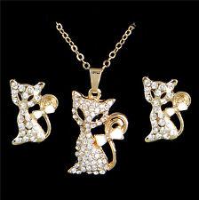 18K Gold Filled Austrian Crystal 44.5cm Cat Necklace Pendant Earrings Animal Set