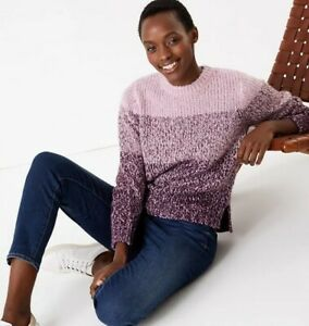 Ladies Marks & Spencer Sequin Colour Block Purple Mix Jumper New CB27