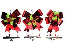 3 Red Ribbon Stocking Holders w/ Chrome Base