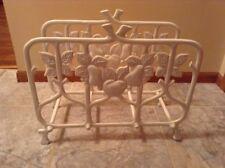 Vintage Chippendale style cast iron feuit design white magazine rack