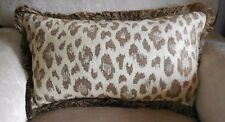 NEW OBLONG Cream Brown LEOPARD ANIMAL Print CHENILLE Cushion covers with Fringe
