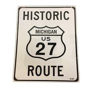 """Historic Michigan US Route 27 8""""x10"""" Metal Street Sign"""