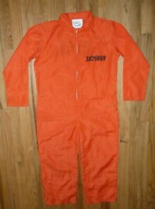 Got Busted Penitentiary Costume Orange Prisoner Jail Jumpsuit Halloween Boy 8-10