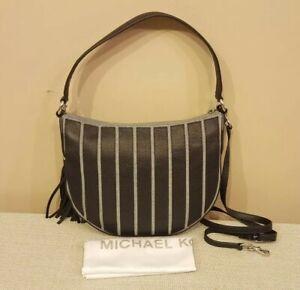 NWT Michael Kors Applique Brooklyn Convertible Hobo Leather Wash Denim Blue $328