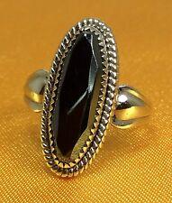 Vintage Antique 925 Fine Sterling Silver Hematite Ladies Ring - Size 5.5