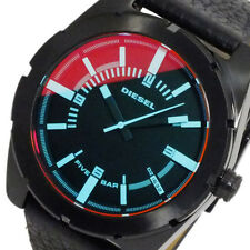 NWT MENS DIESEL (DZ1632) GOOD COMPANY BLACK IRIDESCENT DIAL BLACK LEATHER WATCH