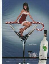 2006 THREE OLIVES VODKA PRINT AD SEXY GIRL WITH CANDY CANE - BAR DECOR