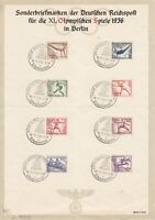 Lot Stamp Germany Sheet Mi 609-16 WWII Munich Berlin Summer Olympics 1936 CTO 3