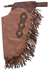 Western Chinks Chaps - Basket Tooled Yoke Smooth Tan Brown Leather - S,M,L,XL