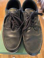 Lacoste Dreyfus Ap Mens Sport Casual Leather Boat Shoes Black/white 10.5