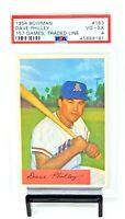 1954 Bowman #163 Athletics DAVE PHILLEY Vintage Baseball Card PSA 4 VG-EXCELLENT