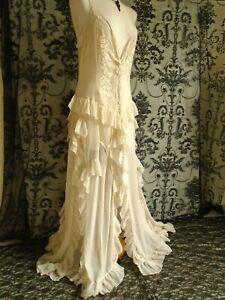 DELICATE GAUZE CORSET DRESS VINTAGE BEACH WEDDING EMBROIDERY SPLIT LAYERS14 16